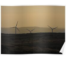 Sunset by the Wind Farm Poster