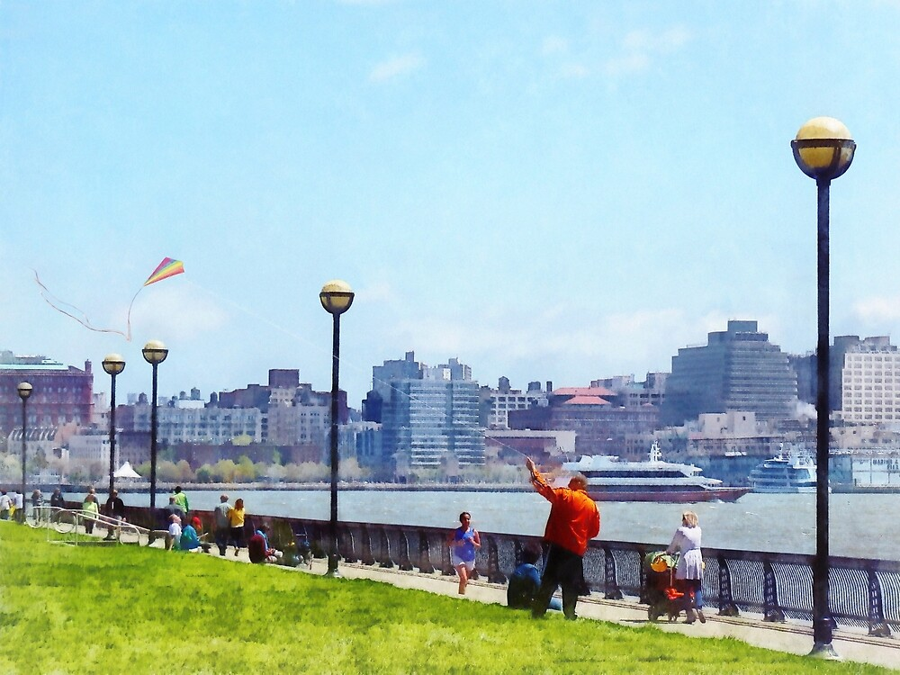 Flying a Kite at Pier A Park Hoboken NJ by Susan Savad