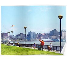 Flying a Kite at Pier A Park Hoboken NJ Poster