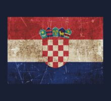Vintage Aged and Scratched Croatian Flag Kids Tee