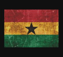 Vintage Aged and Scratched Ghana Flag Kids Tee
