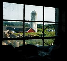 Silo thru Window by Dennis Baker