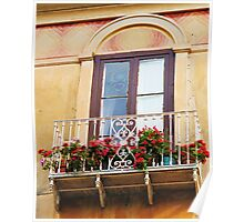 Italian Balcony overflowing with flowers Poster