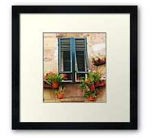 A window framed with green shutters and flowers Framed Print