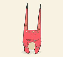 Vector illustration of little pink monster with long ears, fangs and a light belly. by AndrewBzh