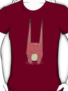 Vector illustration of little pink monster with long ears, fangs and a light belly. T-Shirt