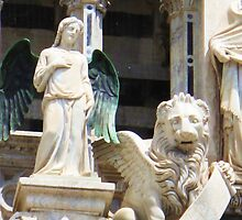 Angel and Winged Lion on Facade Siena Cathedral by creativetravler