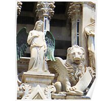 Angel and Winged Lion on Facade Siena Cathedral Poster