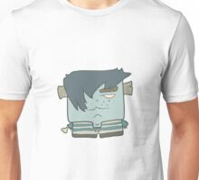 Illustration hand drawn cartoon boy zombie in a striped vest Unisex T-Shirt