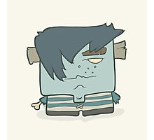 Illustration hand drawn cartoon boy zombie in a striped vest Photographic Print