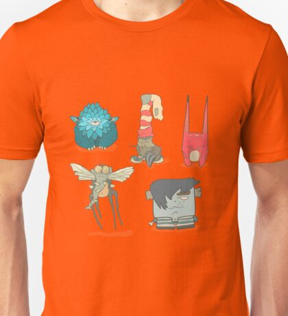 Vector set of illustrations cartoon cute monsters or aliens with claws and fangs Unisex T-Shirt