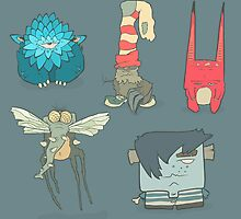 Vector set of illustrations cartoon cute monsters or aliens with claws and fangs by AndrewBzh