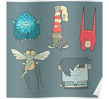 Vector set of illustrations cartoon cute monsters or aliens with claws and fangs Poster