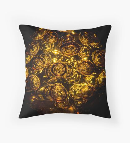 Golden Orbs Throw Pillow