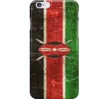 Vintage Aged and Scratched Kenyan Flag iPhone Case/Skin