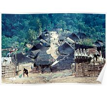 Akha village scene Poster