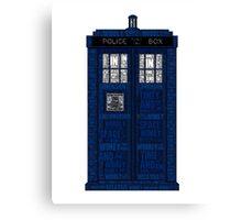 Doctor Who TARDIS Words Print Canvas Print