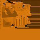 Blues band in orange set by Ana Johnson