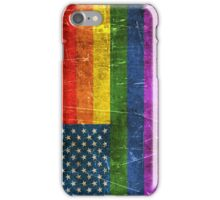 Vintage Aged and Scratched Gay Pride Rainbow American Flag iPhone Case/Skin