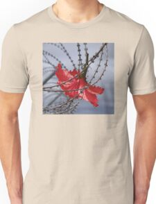 Hibiscus flower in razor wire Unisex T-Shirt