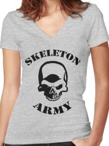 Skeleton Army Women's Fitted V-Neck T-Shirt