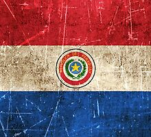 Vintage Aged and Scratched Paraguay Flag by Jeff Bartels
