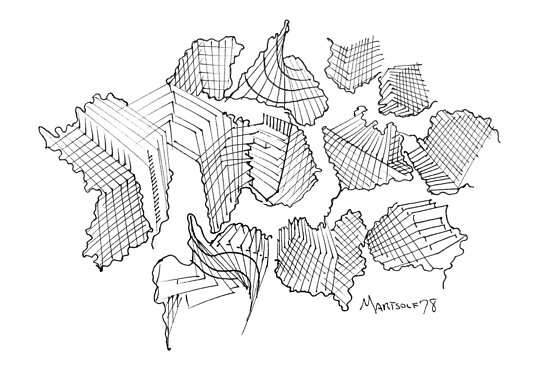"""Modern Architecture - pen and ink on paper - 7"""" x 5"""" by Dave Martsolf"""