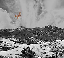 MOUNTAINS, SKY AND A YELLOW PLANE by Paul Quixote Alleyne