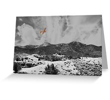 MOUNTAINS, SKY AND A YELLOW PLANE Greeting Card