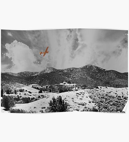 MOUNTAINS, SKY AND A YELLOW PLANE Poster