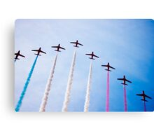 Red Arrows in formation Canvas Print