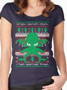 Cthulhu Cultist Christmas - Cthulhu Ugly Christmas Sweater Women's Fitted Scoop T-Shirt