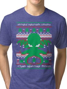 Cthulhu Cultist Christmas - Cthulhu Ugly Christmas Sweater Tri-blend T-Shirt