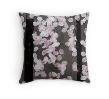 Cherry Petals on a Picnic Bench Throw Pillow