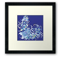 Blue flower and berries Framed Print