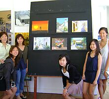 my students showing their paintings by Almeida Coval