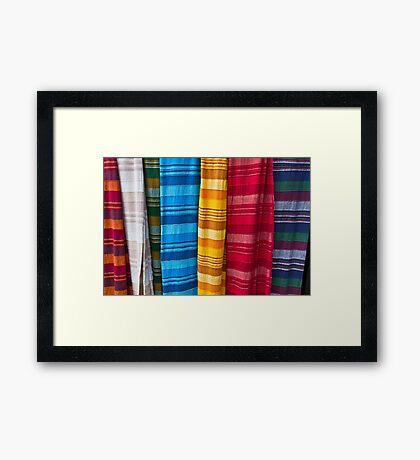 Pashminas or  Scarves - Camden Markets - London Framed Print