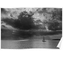 Sailing, stormy waters Poster