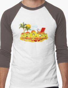 Beach Fun. Summer in the Sun Men's Baseball ¾ T-Shirt