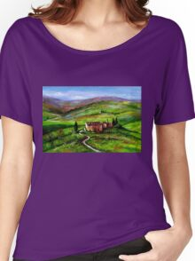 TUSCANY LANDSCAPE WITH GREEN HILLS Women's Relaxed Fit T-Shirt