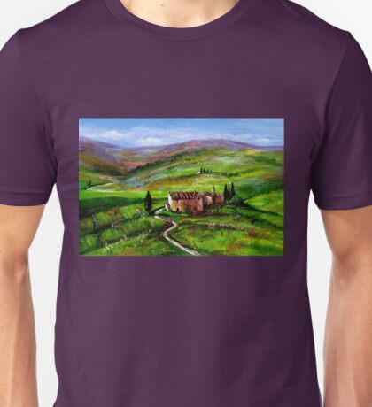 TUSCANY LANDSCAPE WITH GREEN HILLS Unisex T-Shirt