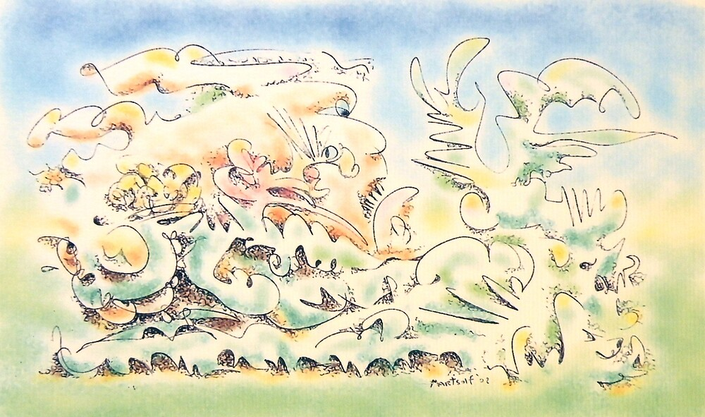 """Environment on the Run - laser print on paper - 10"""" x 6"""" by Dave Martsolf"""
