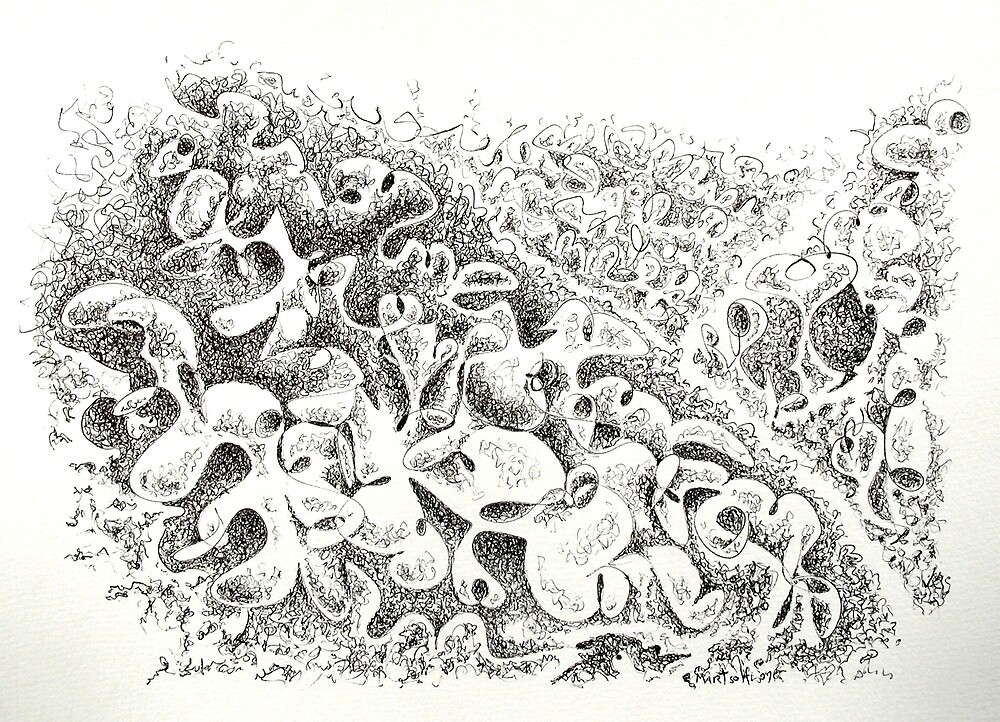 "The Boneyard of Unused Shapes - pen and ink on paper - 12"" x 9"" by Dave Martsolf"