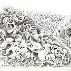"""The Boneyard of Unused Shapes - pen and ink on paper - 12"""" x 9"""" by Dave Martsolf"""