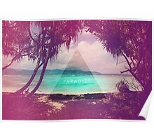 Paradise // Hipster triangle beach photo faded retro Poster