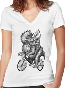 Triceratops Ride Bicycle  Women's Fitted V-Neck T-Shirt