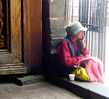 Old Lady outside Cantuña (Details of Quito) by Michelle Falcony
