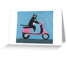 Cat on a Vespa Greeting Card