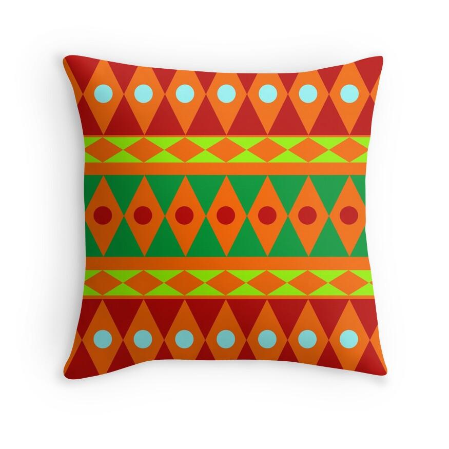 Burgundy Green Throw Pillows :