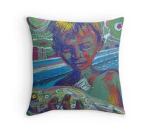 boy with fish Throw Pillow